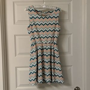 Pink and Blue Fit and Flare dress - Sz M
